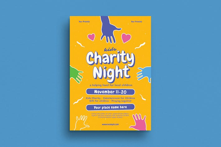 Cover Image For Kids Charity Night Event Flyer
