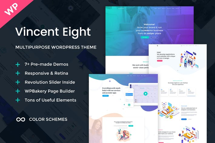 Cover Image For Vincent Eight - Multipurpose WordPress Theme