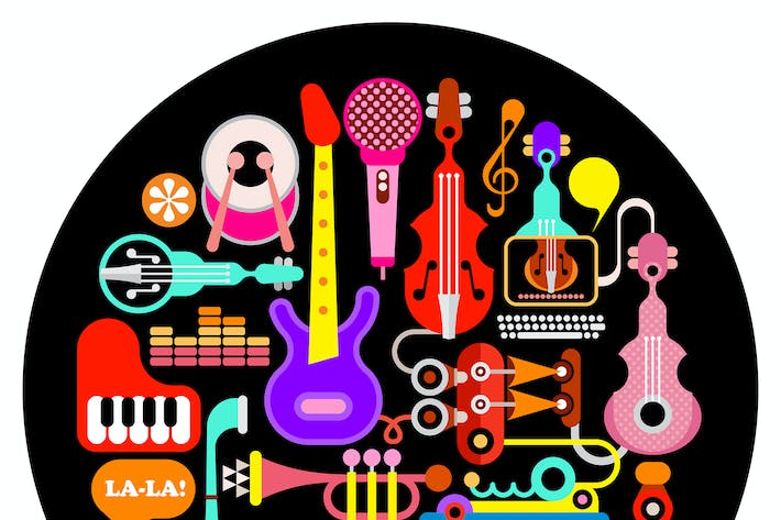 Thumbnail for Musical Instruments Round Illustration