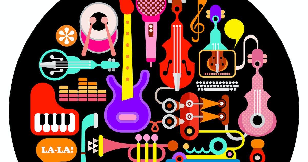 Musical Instruments Round Illustration by danjazzia