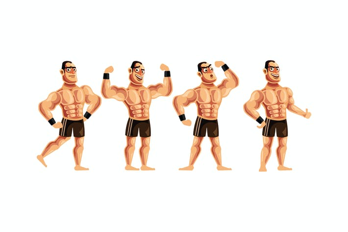 Thumbnail for Bodybuilder Character Set Graphics Vector