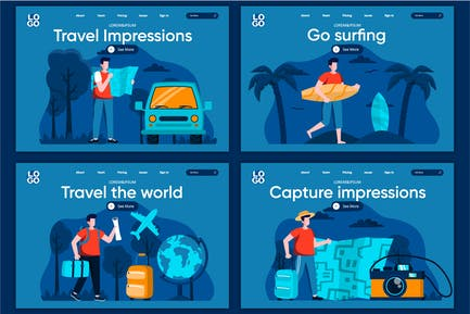 Travel Flat Concept Landing Page Template