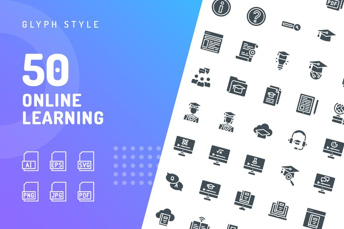 Thumbnail for Online Learning Glyph Icons