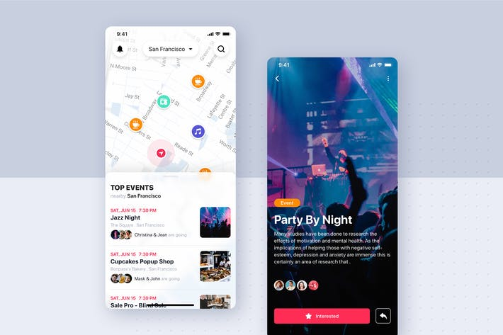 Thumbnail for Search Events mobile app UI concept