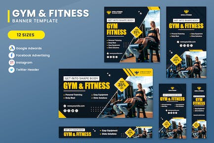 Gym Fitness Banner Set Template