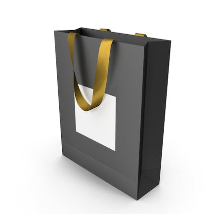 Black and White Bag with Gold Ribbon Handles