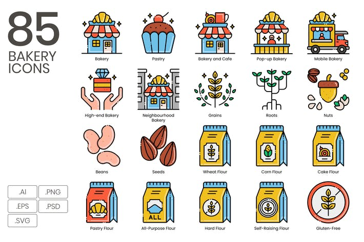 Thumbnail for 85 Bakery Line Icons