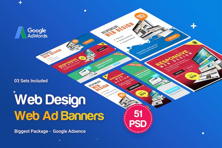 Thumbnail for Web Design Banner Ads - 51 PSD [03 Sets]