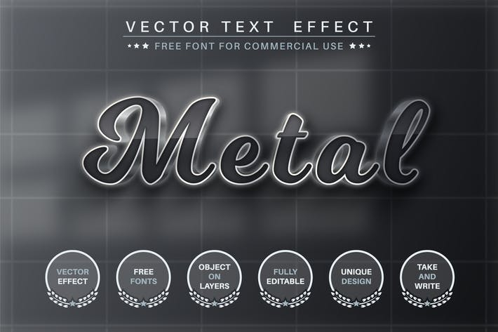 Dark metal - editable text effect, font style