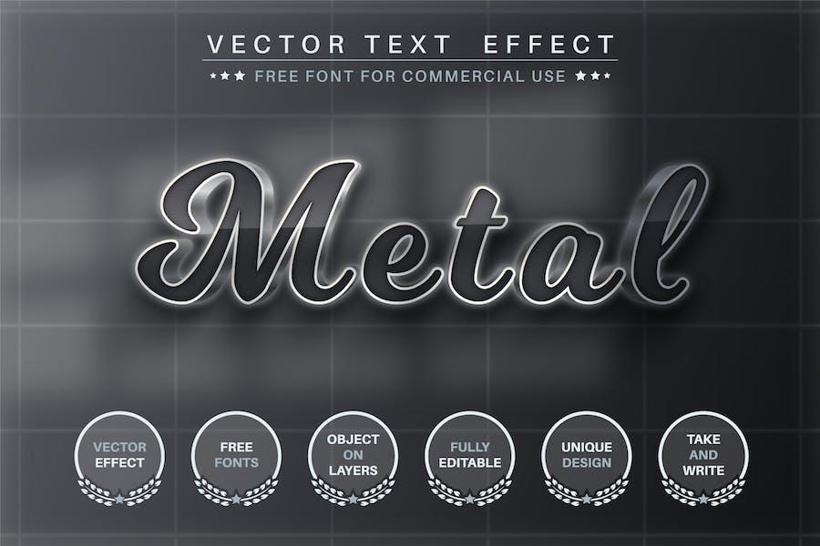 Темный металл - редактируемый текстовый эффект, стиль шрифта