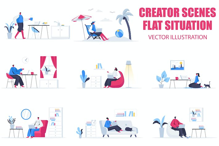 Thumbnail for Freelance Work Flat People Scene Situation