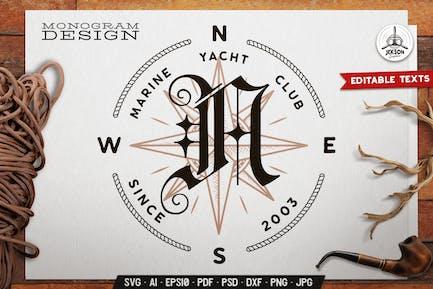 Marine Club Monogramm Vorlage mit Windrose, Seil