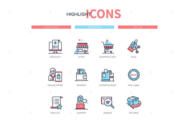 Shopping concept - line design style icons set