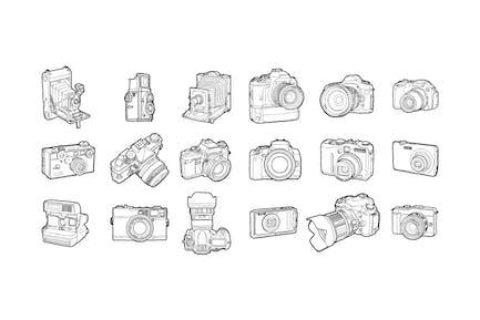 Hand drawn photo cameras pack