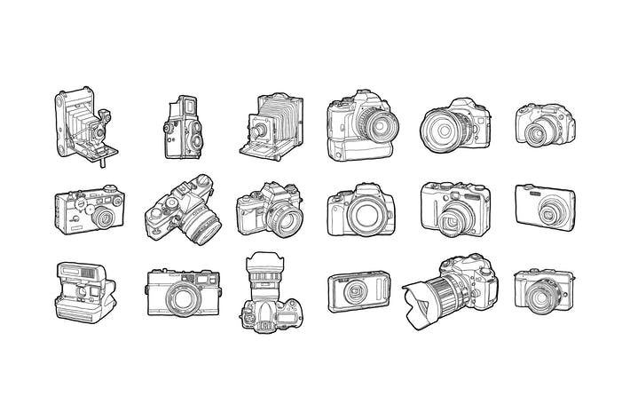 Thumbnail for Hand drawn photo cameras pack