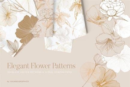 Patrones de flores elegantes.