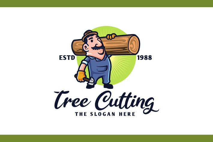 Thumbnail for Retro Tree Cutting & Hauling Service Mascot Logo
