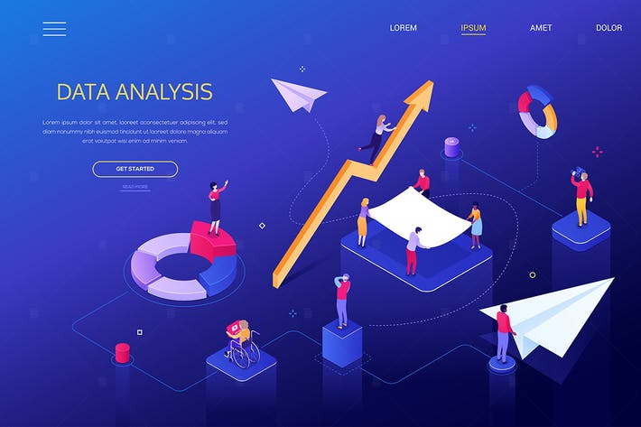 Data analysis - colorful isometric web banner
