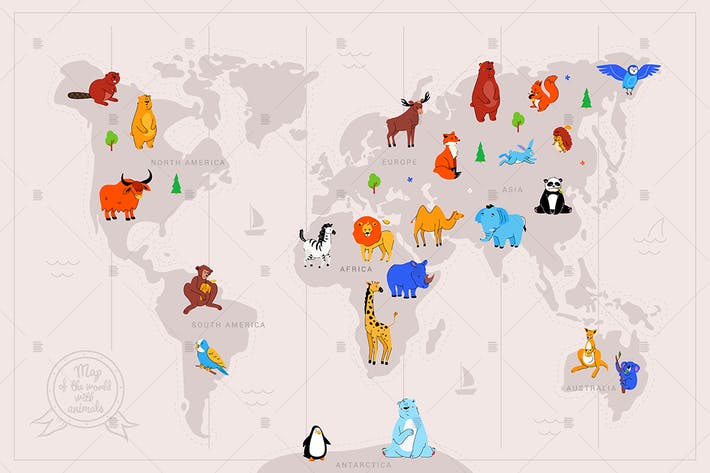 Thumbnail for Animals on world map flat illustration