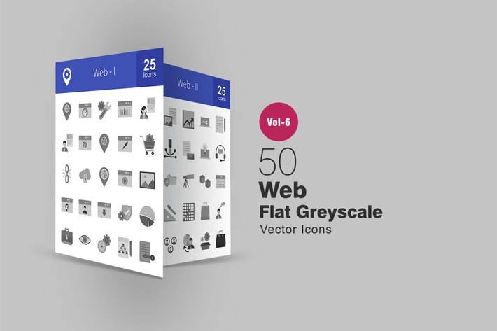 Thumbnail for 50 Web Flat Greyscale Icons