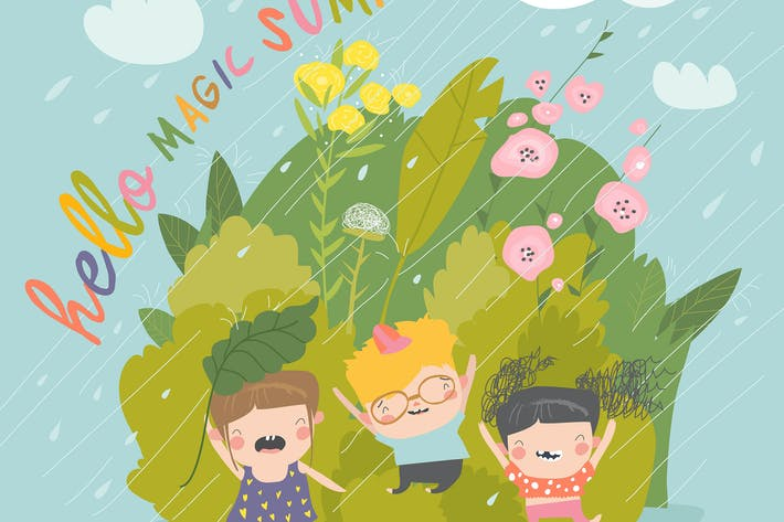 Thumbnail for Happy children enjoying on the rain #illustration2