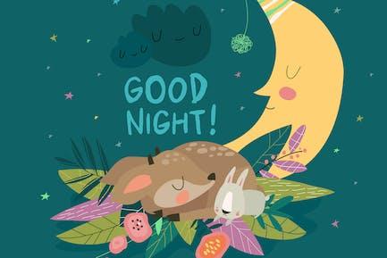 Ciervo lindo con conejito durmiendo juntos entre los