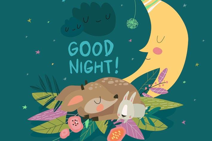 Thumbnail for Niedlicher Hirsch mit Häschen schlafen zusammen unter den