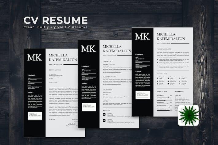 Thumbnail for Monochrom Design CV Resume
