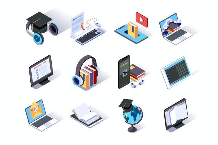 Thumbnail for Online Education Isometric Icons Set