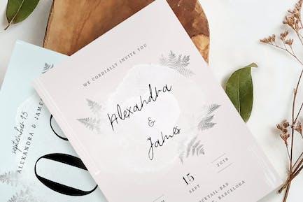 Watercolor Sprigs Wedding Invitation Suite