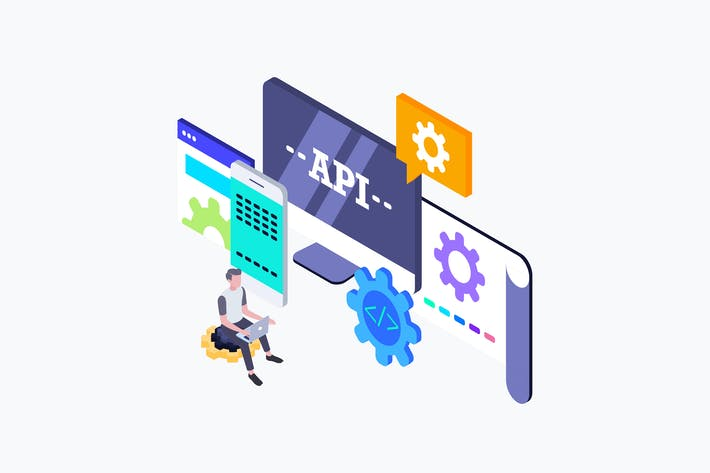 Thumbnail for API Interface Isometric Illustration