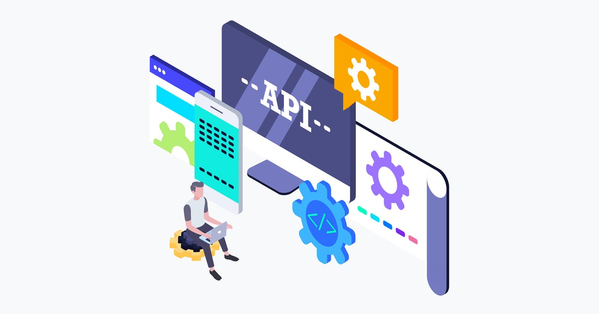 Download API Interface Isometric Illustration by angelbi88