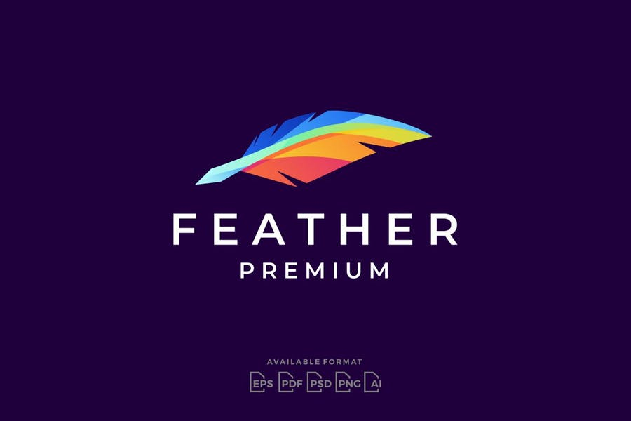 Colorful Feather Quill Logo
