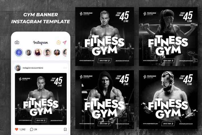 Thumbnail for Gym Fitness Instagram Template