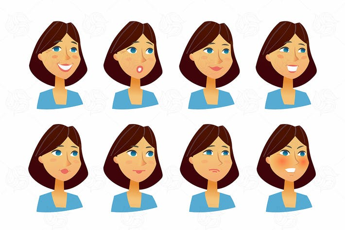 Thumbnail for Woman Expressions - vector flat set of images