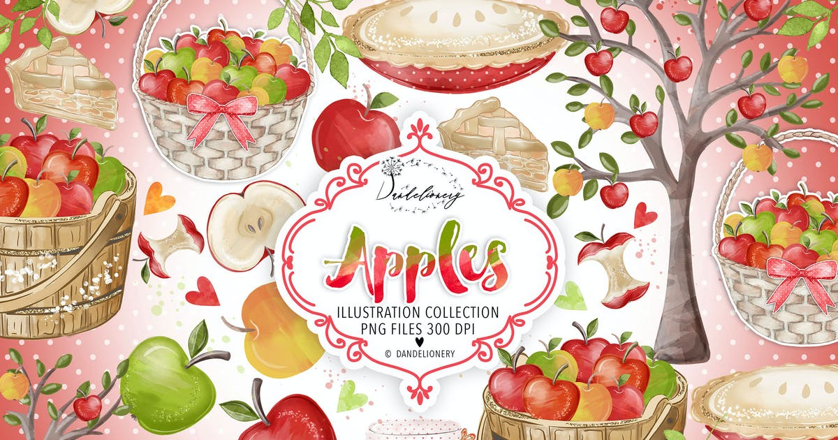 Download Watercolor Apples Clipart by designloverstudio