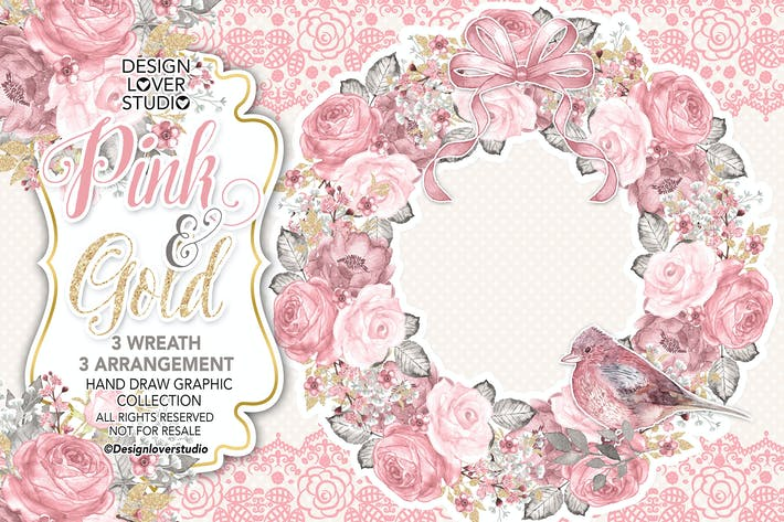 Thumbnail for Watercolor PINK and GOLD wreath