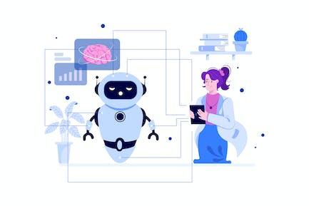 Deep Learning Illustration Concept