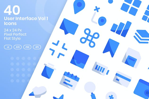 40 User Interface Vol 1 Icons Set - Flat
