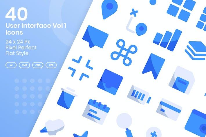 40 User Interface Vol 1 Icons Set - Flat
