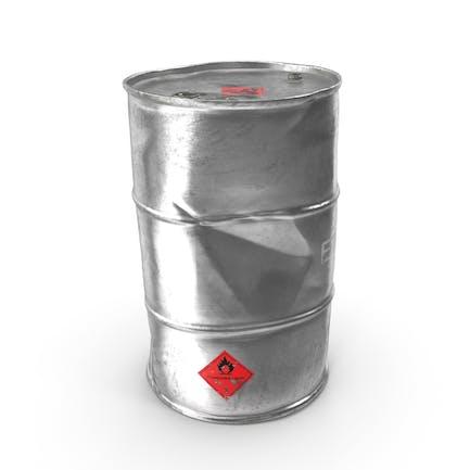 Barril metálico de etanol antiguo
