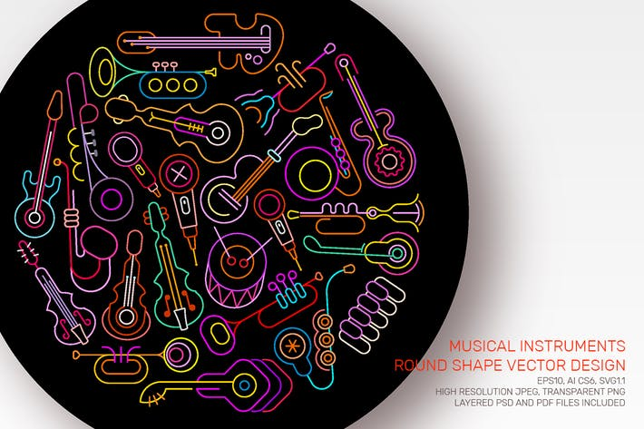 Thumbnail for Neon Musical Instruments round shape design