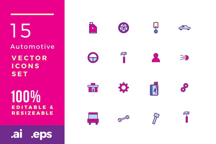 Thumbnail for 15 Automotive vector icons
