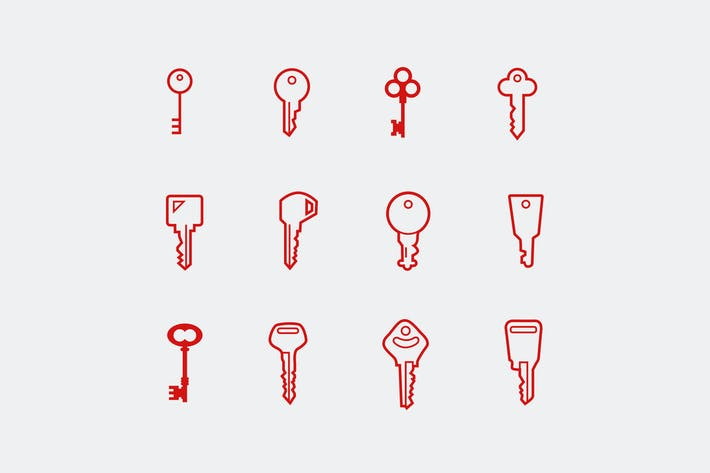 12 Key and Lock Icons
