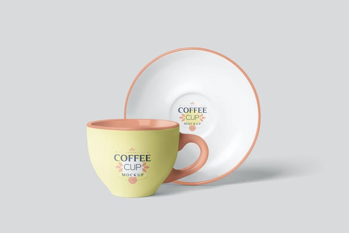 Thumbnail for Coffee Cup Mockup Set with Saucer