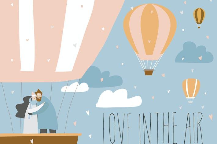 Thumbnail for Cartoon couple in love in hot air balloon. Valenti