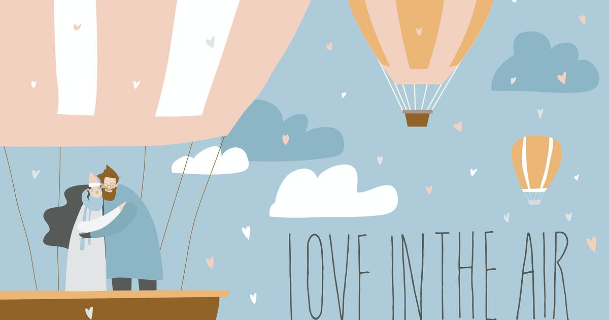 Download Cartoon couple in love in hot air balloon. Valenti by masastarus