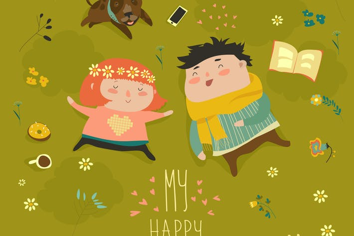 Thumbnail for Happy kids lying on the meadow grass