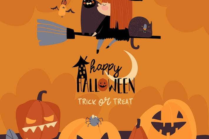 Thumbnail for Cute Halloween redheaded witch flying on broom.