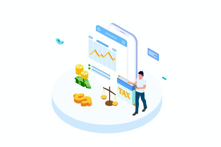 Thumbnail for Pay Tax of Finance Isometric Illustration - FV